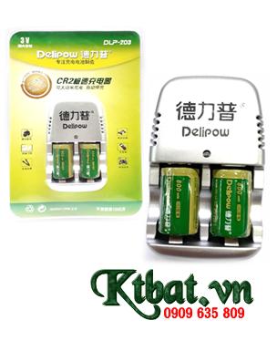 Bộ sạc pin CR2 Delipow DLP-203 kèm sẳn 2 pin sạc Delipow CR2